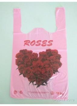 """Пакет майка """"Сердце из роз """" 30х50"""