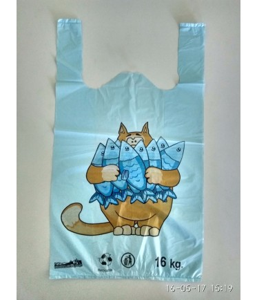 "Пакет майка ""Кот с рыбой"" 30х50"
